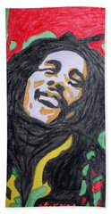 Hand Towel featuring the painting Happy Bob Marley  by Stormm Bradshaw