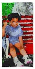 Bath Towel featuring the painting Lauren On The Swing by Vannetta Ferguson
