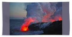 Lava Flow At Sunset In Kalapana Bath Towel