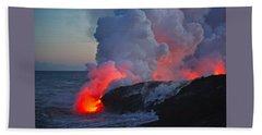 Lava Flow At Sunset In Kalapana Bath Towel