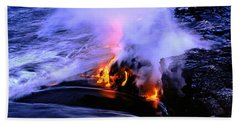 Lava Flowing From A Volcano, Kilauea Bath Towel
