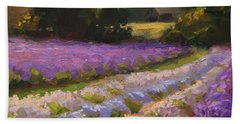 Lavender Farm Landscape Painting - Barn And Field At Sunset Impressionism  Bath Towel