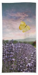 Lavender Field Pink And Blue Sunset And Yellow Butterfly Bath Towel