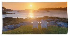 Lawn Chairs At Sunrise At Lobster Hand Towel