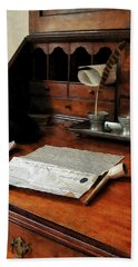 Bath Towel featuring the photograph Lawyer - Quill Papers And Pipe by Susan Savad