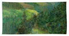 Layers Of Mountain Ranges Colorful Original Landscape Oil Painting Bath Towel