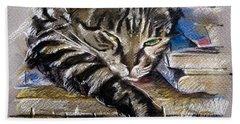 Lazy Cat Portrait - Drawing Bath Towel