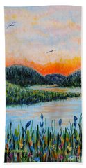 Bath Towel featuring the painting Lazy River by Holly Carmichael
