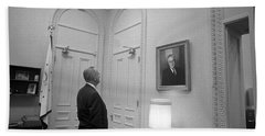 Lbj Looking At Fdr Hand Towel