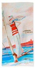 Hand Towel featuring the painting Le Miroir Du Monde by Beth Saffer
