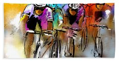 Le Tour De France 03 Bath Towel by Miki De Goodaboom