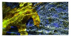 Leaf In Creek - Blue Abstract Bath Towel