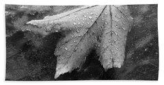 Leaf On Glass Bath Towel by John Schneider