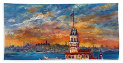 Hand Towel featuring the painting Leanders Tower  Istanbul by Lou Ann Bagnall