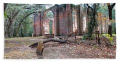 Leaning Tomb - Old Sheldon Church Ruins Hand Towel