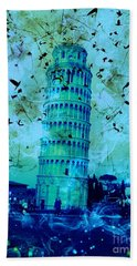 Leaning Tower Of Pisa 3 Blue Bath Towel