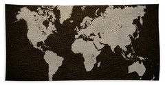 Leather Texture Map Of The World Hand Towel