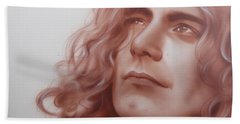 Robert Plant - ' Leaves Are Falling All Around ' Hand Towel by Christian Chapman Art