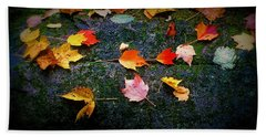 Leaves On Rock  Bath Towel