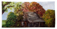 Bath Towel featuring the painting Leaves On The Cabin Roof by Eloise Schneider