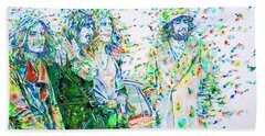 Led Zeppelin - Watercolor Portrait.2 Hand Towel by Fabrizio Cassetta