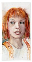 Leeloo Portrait Multipass The Fifth Element Hand Towel by Olga Shvartsur