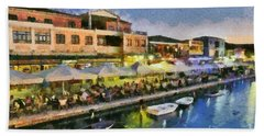 Lefkada Town During Dusk Time Bath Towel