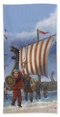 Bath Towel featuring the painting Legendary Viking by Rob Corsetti