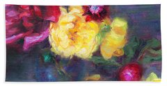 Lemon And Magenta - Flowers And Radish Hand Towel