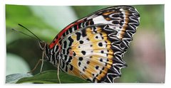 Leopard Lacewing Butterfly Hand Towel by Judy Whitton