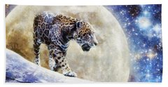 Bath Towel featuring the painting Leopard Moon by Greg Collins