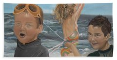 Bath Towel featuring the painting Beach - Children Playing - Kite by Jan Dappen