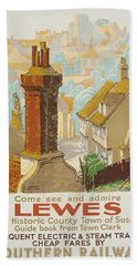 Lewes Poster Advertising Southern Railway Bath Towel