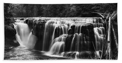Lewis River Lower Falls Black And White Bath Towel