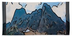 Bath Towel featuring the painting Liberty Bell Mountain Abstract Landscape Painting by Omaste Witkowski