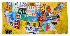 License Plate Art Map Of The United States On Yellow Board Bath Towel