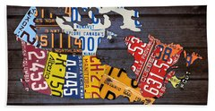 License Plate Map Of Canada Bath Towel