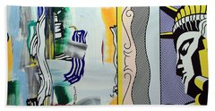 Lichtenstein's Painting With Statue Of Liberty Bath Towel by Cora Wandel