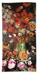 Bath Towel featuring the painting Life Is Like A Vase Of Flowers by Belinda Low
