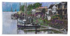 Hand Towel featuring the painting Alameda Life On The Estuary by Linda Weinstock