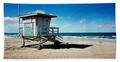 Lifeguard Hut On The Beach, 8th Street Hand Towel