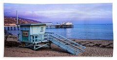 Lifeguard Tower And Malibu Beach Pier Seascape Fine Art Photograph Print Hand Towel
