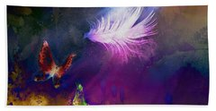 Hand Towel featuring the painting Light Feather by Lilia D