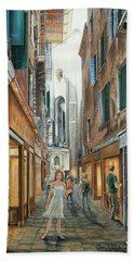 Light From San Salvador Merceria Del Capitello San Marco Venezia Hand Towel