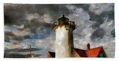 Light House In A Storm Hand Towel
