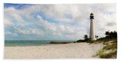Light House On The Beach Bath Towel