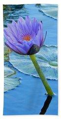 Light Purple Water Lily Bath Towel by Pamela Walton