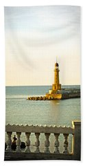 Lighthouse - Alexandria Egypt Hand Towel by Mary Machare
