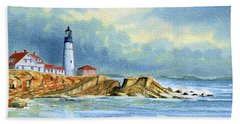 Lighthouse At Portland Head Maine Hand Towel