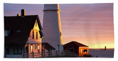 Lighthouse In The Morning Hand Towel